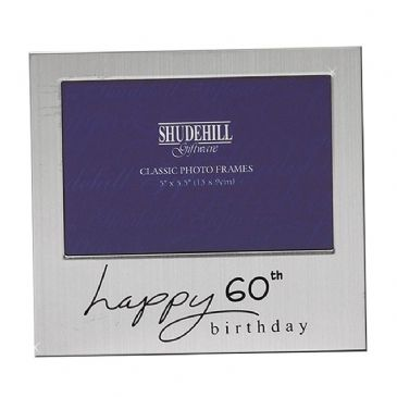 Happy Birthday Satin Silver Plated Photo Frame 60th